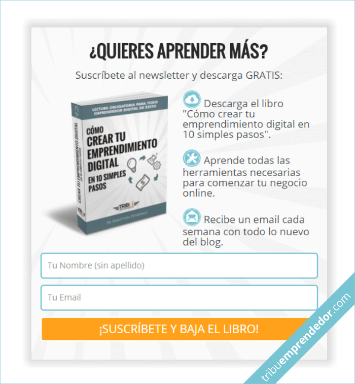 Ejemplo de Gancho Digital para captar seguidores descargando Libro digital