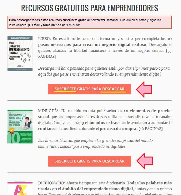 Crear una página de recursos gratuitos a cambio de un email