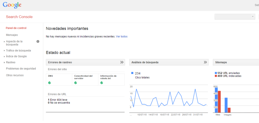 Search Console Webmaster Tools - Panel de Control