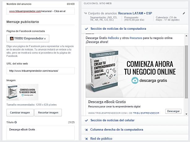 Configuración de la campaña de Facebook Ads