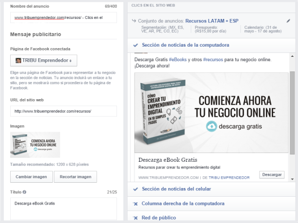 Facebook Configuración Anuncio