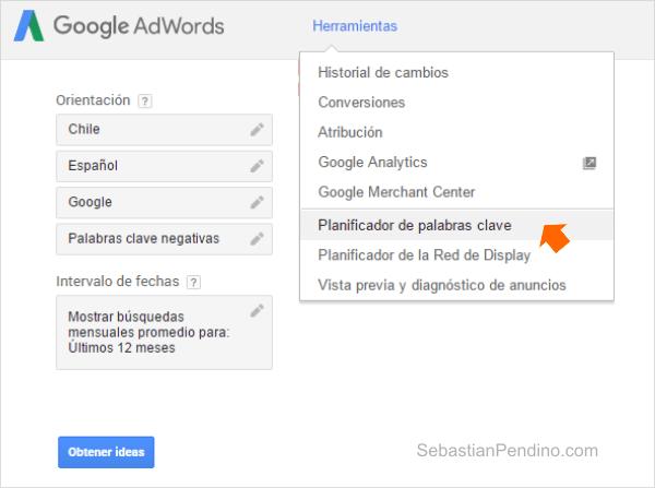 validar un nicho de mercado - planificador de Google