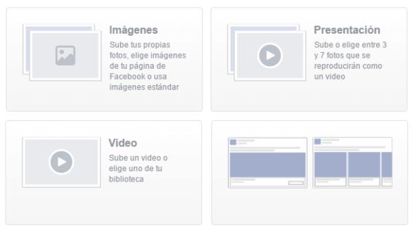 Tipo de contenido de los anuncios de Facebook