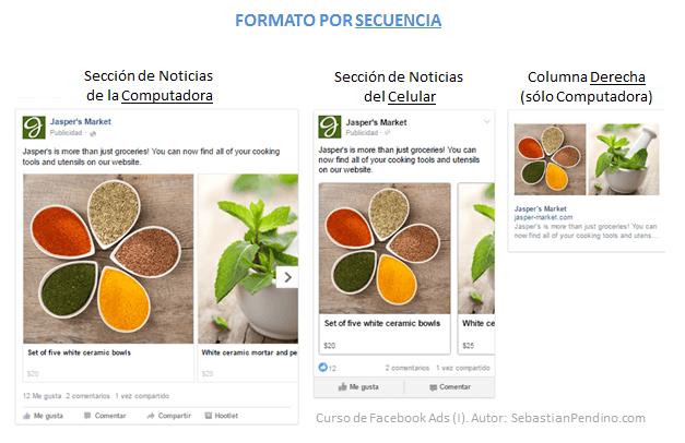 Tipos de anuncios en Facebook. Secuencias de imagenes