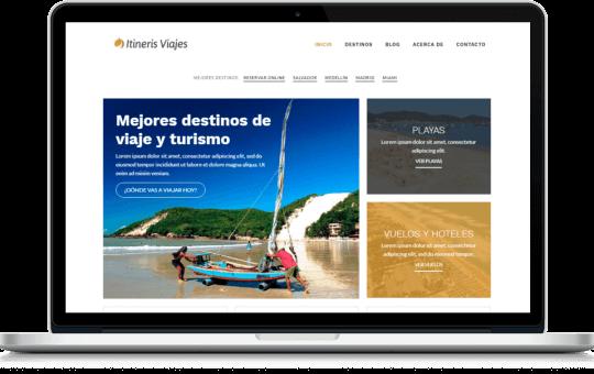 Sitio web de agencia de viajes y turismo diseñado para Itineris Viajes