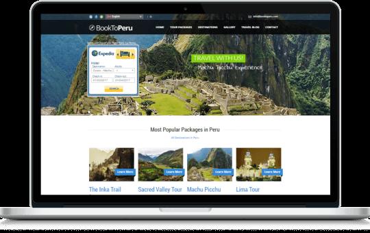 Sitio web multi-idioma para agencia de viajes y turismo diseñado para BookToPeru