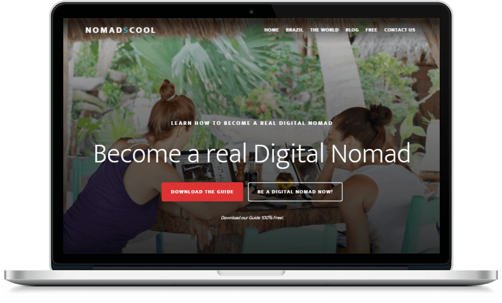 Landing page para camps & retreats diseñada para Nomads Cool