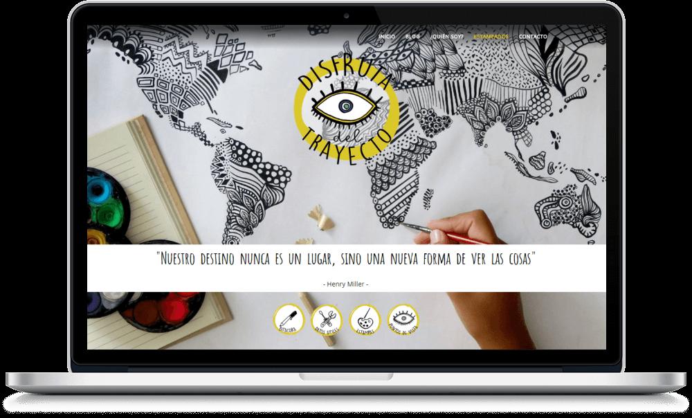 Blog de viajes con sección para productos diseñado para Disfruta del Trayecto