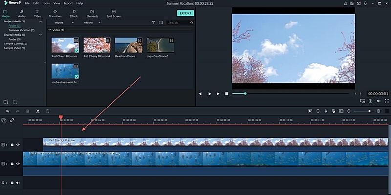 Editor de video FIlmora. Timeline (línea del tiempo)